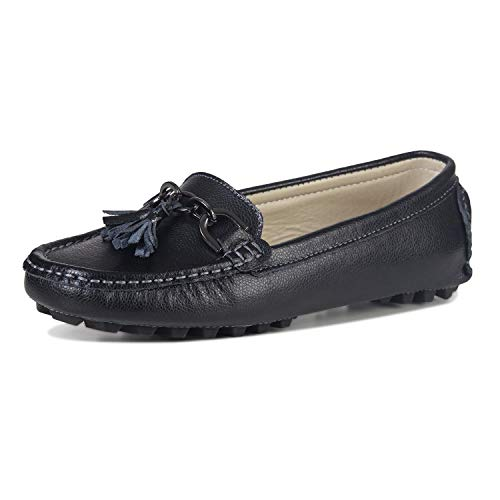 LUOBANIU Damen Mokassin Leder Slipper Bootsschuhe Slip-on Halbschuhe Damenschuhe Flache Schuhe mit Quast Schwarz 38 EU (7.5 US)