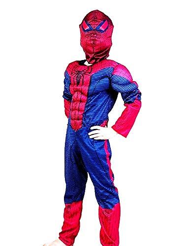 Costume supereroe - busto muscoloso - spiderman uomo ragno - travestimenti per bambini - halloween - carnevale - cosplay - accessori - taglia L - 6-7 anni - idea regalo originale