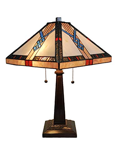 Tiffany Style Table Lamp Banker Mission 23' Tall Stained Glass Tan Blue Orange Brown Vintage Antique Light Décor Nightstand Living Room Bedroom Handmade Gift AM244TL14B Amora Lighting