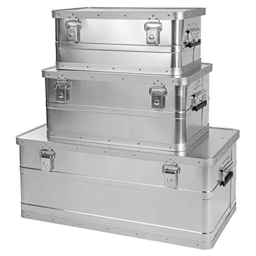 ONVAYA Alubox 3er Set stapelbar | Alukisten mit Deckel | Transportkiste | Aluminiumkiste | Aluminiumbox