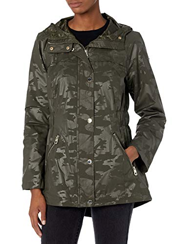 GUESS Women's Adjustable Long Sleeve Anorak Jacket, Olive Camo, Large