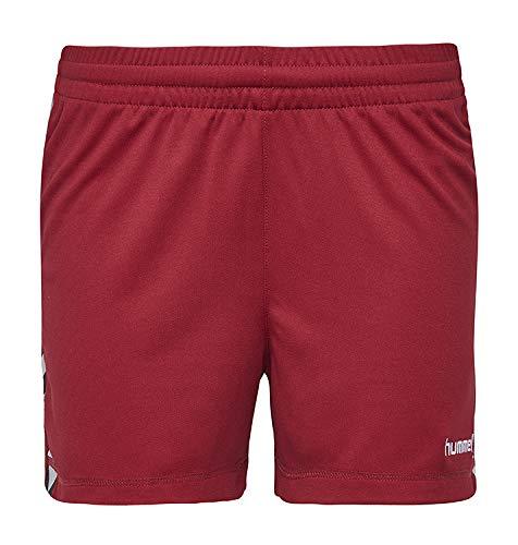 Hummel sportbroek kort in rood - REFLECTOR POLY SHORTS AC - korte broek dames sport - loopshorts voor fitness, training & gym - functionele shorts XS - XXL