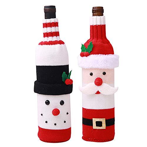 Ctzrzyt Juego de Fundas de SuéTer de Punto para Botella de Vino Navide?A de 2 Piezas para Decoraciones Navide?As