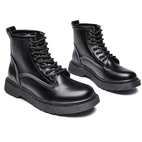 Resonda Womens Combat Boots Fashion Leather Ankle Booties Lace up Short Boots Waterproof,All-Black,US8.5