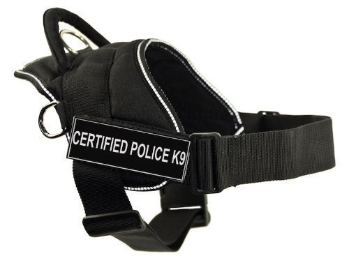 DT Fun Works Harness, Certified Police K9, Black With Reflective Trim, Medium - Fits Girth Size: 28-Inch to 34-Inch