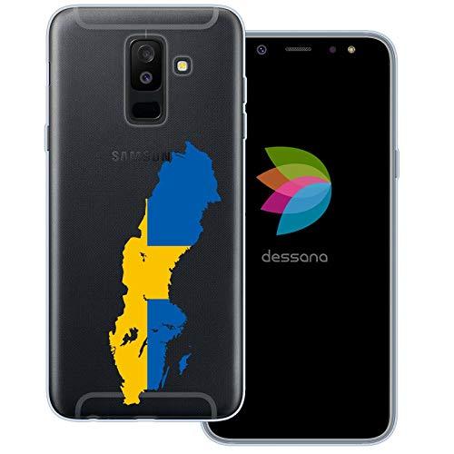 dessana Sverige transparent skyddsfodral mobiltelefon fodral fodral väska för Samsung Galaxy A6+ (2018) Sverige karta