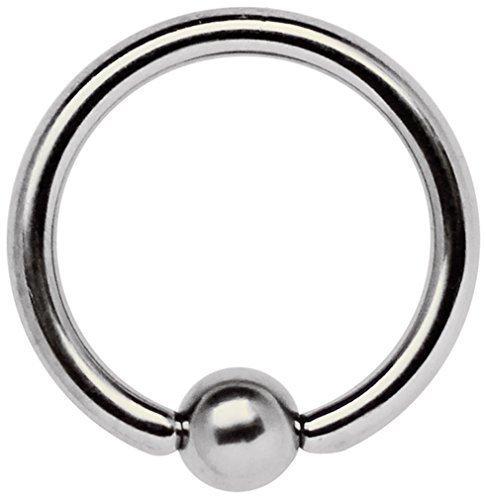 Intimpiercing Schmuck Titan Ring 1,6 x 10 mm mit Klemmkugel
