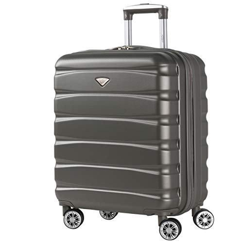 Flight Knight Lightweight ABS Hard Case 8 Wheel Carry On Hand Suitcases Exact and Maximum Size for easyJet, British Airways, Jet2, Thomson Airlines, Iberia and Many More. Compatible with 23 Airlines.
