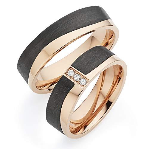 123traumringe Trauringe/Eheringe mit 3 BRILLANTEN in Titan-Rosé/Carbon in Juwelier-Qualität (Brillant/Gravur/Ringmaßband/Etui)