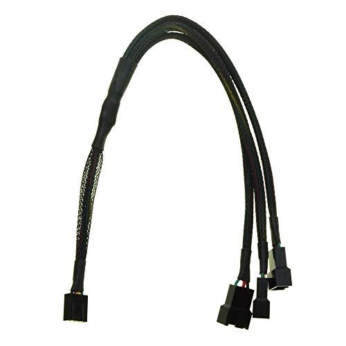 Durable 12V 4Pin Ventilador PWM 1 a 3 vías Fuente de alimentación Cable de extensión Y Divisor Puerto Multiplicador Computadora PC Enfriamiento Manga - (Longitud del Cable: 30 cm) (Color : 30cm)