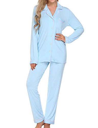 Ekouaer Womens Cotton Casual Set Short Sleeve Cotton Pajamas(Clear Blue, Large)