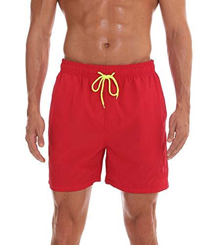 FGFD Bañador Hombre Pantalones Corto Deporte Bermudas Secado Rápido Trajes de Baño Hombre Bóxers Playa Shorts (M, Rojo)