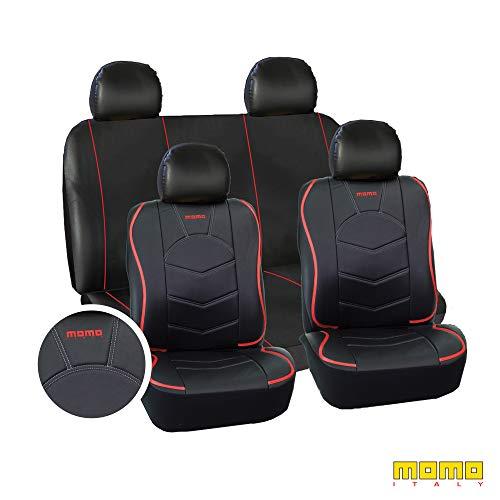 MOMO MOMLSC018BR Fundas Asientos para Automóviles, Negro/rojo