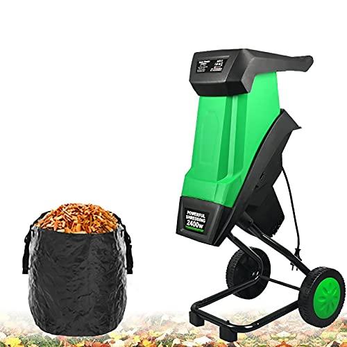 joyvio Cable de alimentación de 30 m, máquina trituradora de ramas de árbol de jardín de 2400 W, trituradora trituradora de madera eléctrica de 50 l, herramienta de jardín, protección contra sobrecarg