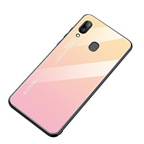 AIsoar Compatible with Galaxy A30/A20 Colored Gradient Tempered Glass Case,Tempered Glass Back Cover + Soft TPU Bumper Frame Shockproof Anti-Scratch Protective Cover Shell (Pink + Yellow)