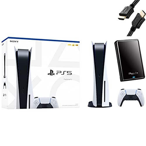 Sony PS5 Playstation 5 Console Disc Version + Wireless Controller - iPuzzle HDMI Cable + 320GB...