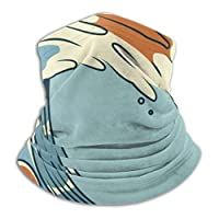 メンズネックウォーマー 波のサーフ レトロな色のベクトル図 春 秋 冬 防寒対策 保温 防風 裏ボア ふわふわ 暖かい 首巻き 無地 男女兼用 小顔効果抜群 26X30CM