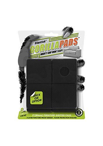 GorillaPads CB142 Non-Slip Furniture Pads/Grippers (Set of 8) Furniture Leg Floor Protectors, 2 Inch Square, Black