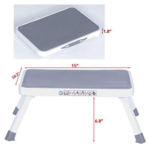 Sattiyrch Step Stool for Adult,Portable Folding Metal Small One Step Stool with Non Slip Platform,6.8
