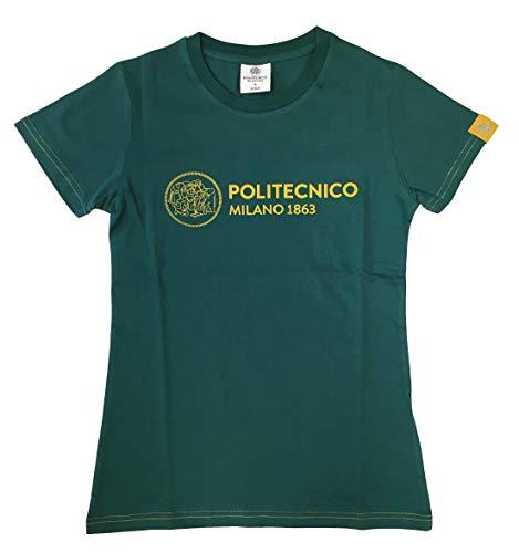 Politecnico Milano 1863, T-Shirt Linea ISTITUZIONALE Winter 2020 - Donna (Verde/Giallo, M)
