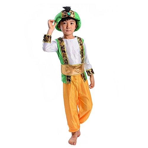 LOLANTA Disfraz de príncipe árabe de Halloween para niños Disfraz de Cuento de Hadas de Aladdin(S(6-7 años))