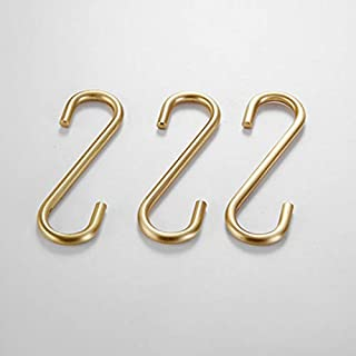 S Hooks 3 PCS for Hanging,Brass Hook Hangers for Kitchen Bathroom Heavy Duty,Brushed Gold