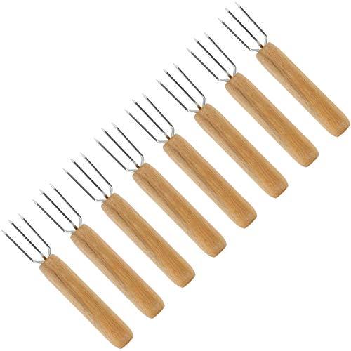 com-four® 8x Pellkartoffel-Gabel mit 3 Edelstahl-Zinken, rostfrei, wiederverwendbar als Maisspieß, Schälhilfe (08 Stück - Kartoffel)