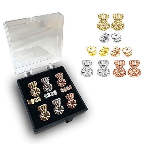 4-Pairs Screw Earring Backs,3 Pairs of Adjustable Hypoallergenic Earing Lifts+1 Pairs 925 Sterling Silver Instantly Lift Replacement Comfortable Earring Backs,Replacements for Diamond Earrings