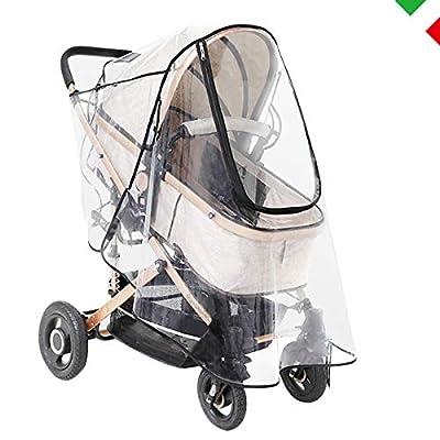 O³ - Protector de lluvia para cochecito universal – Impermeable   Ventana de contacto   Protege de mosquitos, lluvia, viento, nieve, humedad   Regalo con 2 ganchos para bolsos