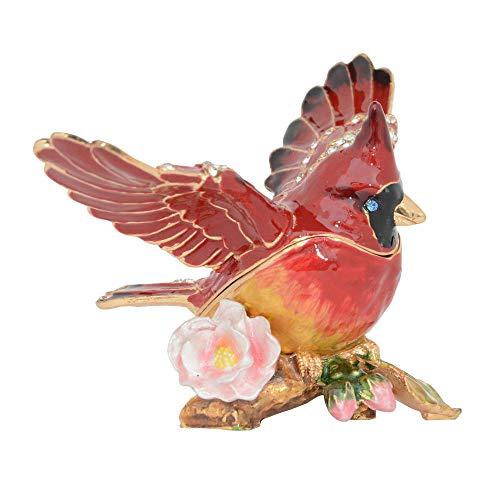 HJIKM Estatuas Decorativas Baratija De Pájaros Y Joyero Figurilla De Aves Manualidades De Metal Coleccionables Collar De Mesa Contenedor Regalos De Novedad