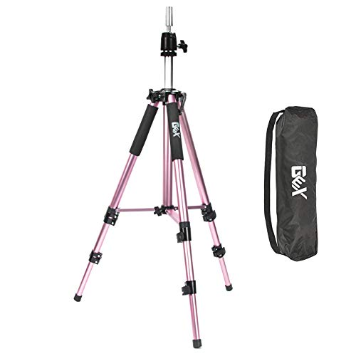 GEX Upgraded Heavy Duty Canvas Block Head Tripod Cosmetology Training Doll Head Stand Mannequin Manikin Head Tripod Wig Stand With Travel Bag (Rose Gold(Version 2.0))