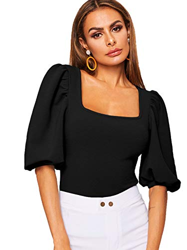 Romwe Women's Casual Puff Sleeve Square Neck Slim Fit Crop Tee Tops Black US 10/Large