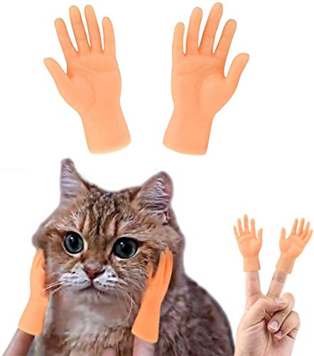 lvfengxian Interactive Pet Toys Game, Mini Finger Cat Dog Massage Puppet Hand, Tiny Hands for Cat Dog Tease Game Party Prank Gag Gift