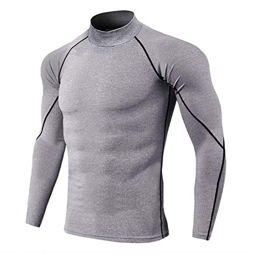 QJSZ Mens Compression Top Base Layer Long Sleeve Solid Color Slim Fit Crew Neck Gym Running Thermal Sweatshirt Functional T-Shirt for Sweatshirt 3XL
