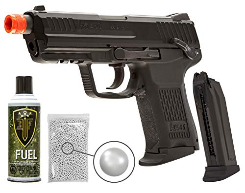 Elite Force H&K45CT GBB(VFC) Blowback Airsoft Pistol Green Gas BB Air Soft Gun with Elite Force Airsoft Green Gas Can and Extra Mag and Wearable4U Pack of 1000 6mm 0.20g BBS Bundle (Black)