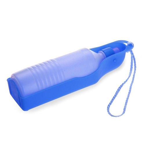 Bebedero Botella Portátil Plástico Azul para Perros Mascota Paseo