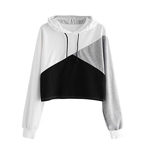 Keepfit Women Patchwork Hoodie Sweatshirt Crop Tops Jumper Hooded Pullover Blouse (M, Black)