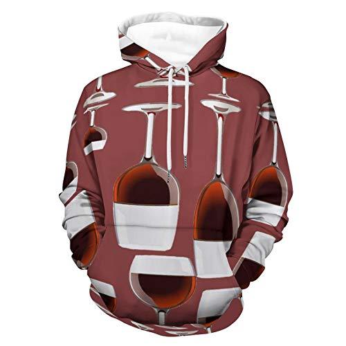 Sudaderas con capucha para hombres y mujeres, copas de vino con capucha, ropa deportiva, sudadera deportiva sin forro polar con capucha
