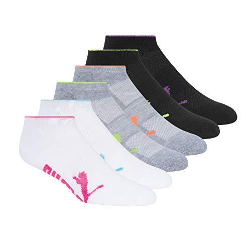 Puma Women's Half Terry Runner Socks 6-Pack, White Multi, 9-11