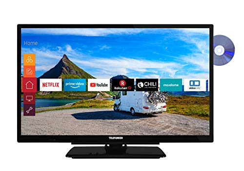 Telefunken XH24G501VD 61 cm (24 inch) televisie (HD-ready, Triple Tuner, Smart TV, Prime Video, geïntegreerde dvd-speler, 12 volt)