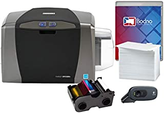 Fargo DTC1250e Single Sided ID Card Printer & Complete Supplies Package with Bronze Edition Bodno Software