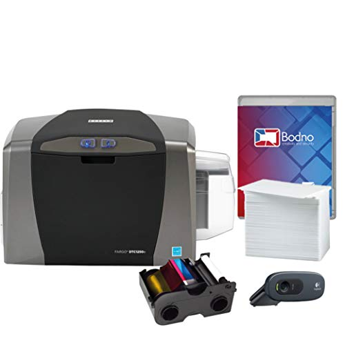 Fargo DTC1250e Single Sided ID Card Printer & Complete Supplies Package with...