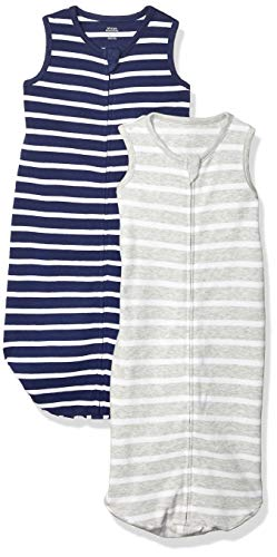 Amazon Essentials 2-Pack Cotton Baby Sleep Sack Infant-and-Toddler, Grey/Navy Stripes, 0-6 Months