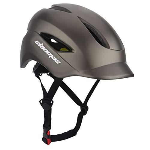 KINGLEAD Casco de Bicicleta con luz LED, Unisex, Casco de Bicicleta para Carreras en Bicicleta, Skateboarding, Seguridad al Aire Libre, Muy Ligero, Ajustable, con Certificado CE (Titan)