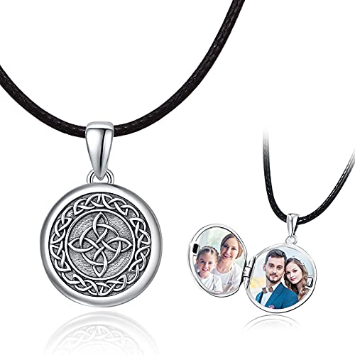 Celtic Knot Locket Necklace S925 Sterling Silver That Holds Pictures Good Luck Irish Celtic Round Pendant Jewelry Gifts for Women Men Girls