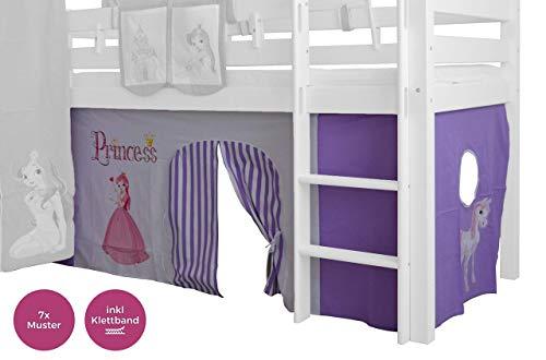 XXL Discount Vorhang Set für mädchen 100% Baumwolle Stoffvorhang Bettvorhang inkl Klettband für Hochbett Spielbett Etagenbett Stockbett Kinderbett (Lila/Weiß, Prinzessin)