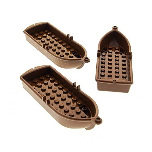 LEGO 3 x System Boot braun 14x5x2 Paddelboot Ruderboot Piraten Schiff Soldaten Indianer Insulaner Set 10040 6285 6276 4709 6277 6289 2551