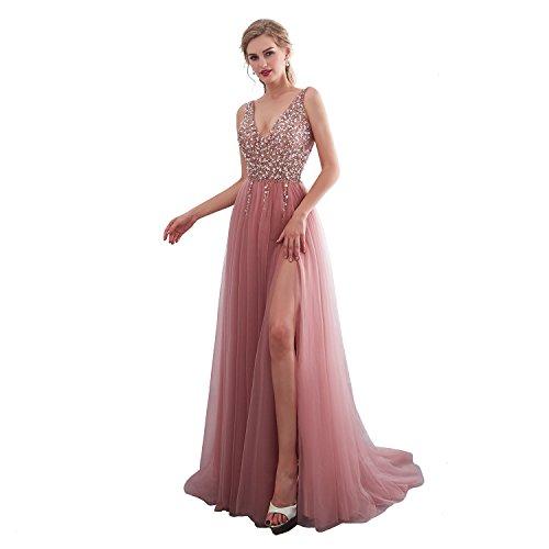 iLovewedding Prom Dresses High Slit V Neck Sequins Tulle Long Evening Gowns Pink (Apparel)