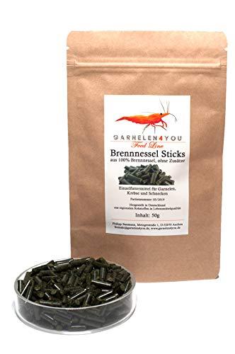 GARNELEN4YOU® Brennnessel Sticks, 50 g hochwertige Futter Pellets zur entspannten Fütterung von Aquarienbewohnern wie Garnelen, Krebse und Schnecken, 1x 50g