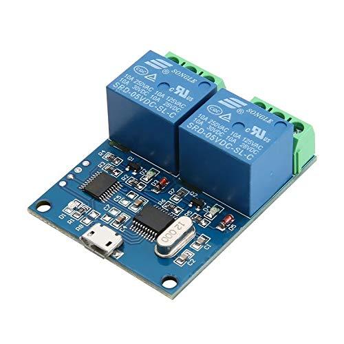 Goldyqin Lcus-2 USB 5V Módulo De Relé De 2 Canales Ch340 USB Interruptor De Control Inteligente Módulo De Relé En Serie Módulo De Relé USB - Azul